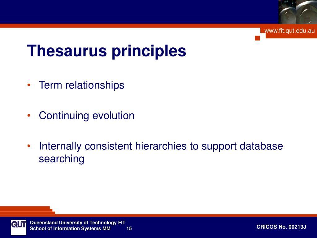 Thesaurus principles
