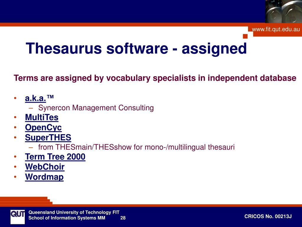 Thesaurus software - assigned