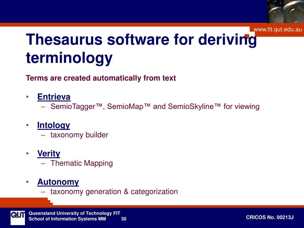 Thesaurus software for deriving terminology