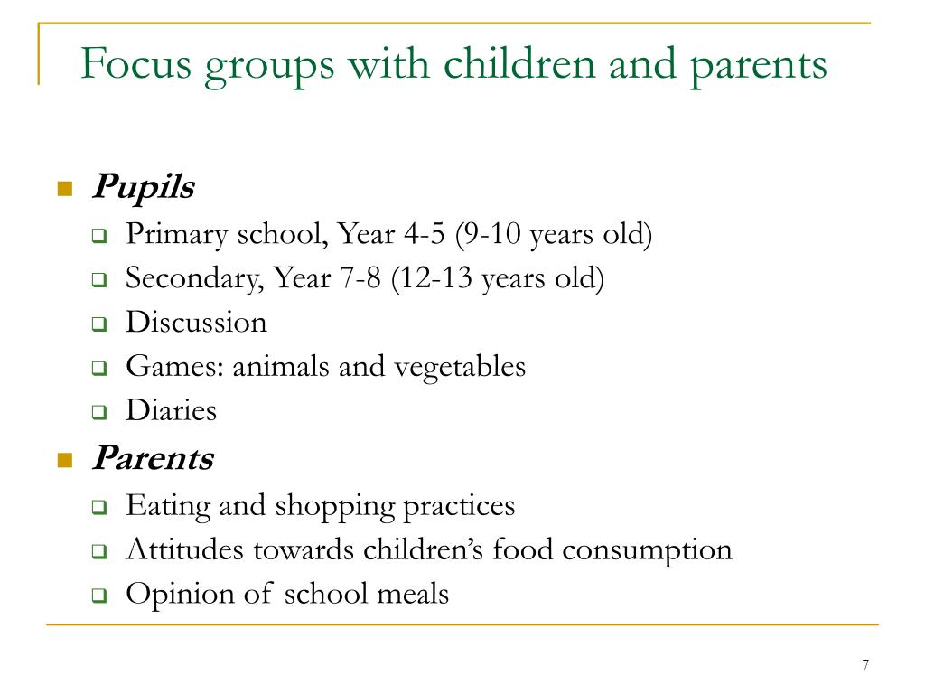 Focus groups with children and parents
