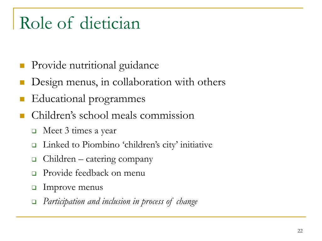 Role of dietician