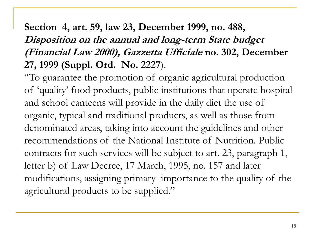 Section  4, art. 59, law 23, December 1999, no. 488,