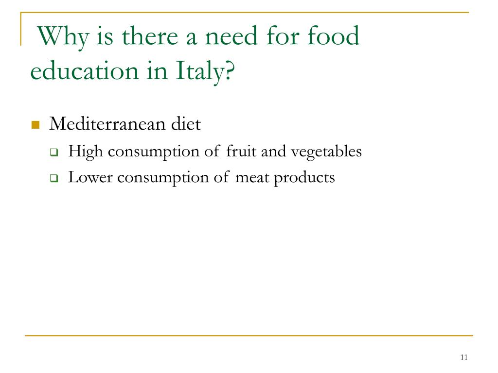 Why is there a need for food education in Italy?