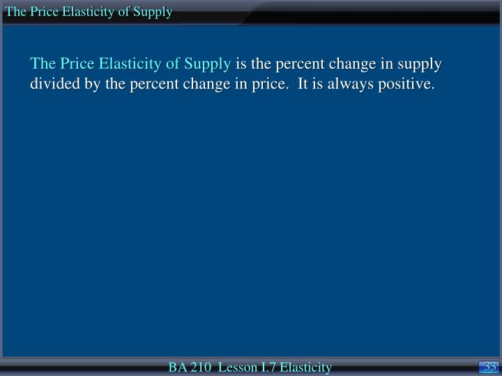 The Price Elasticity of Supply