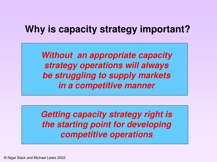 Why is capacity strategy important?