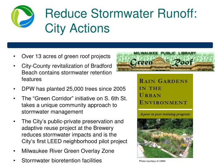 Reduce Stormwater Runoff: City Actions