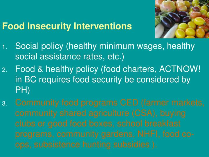Food Insecurity Interventions