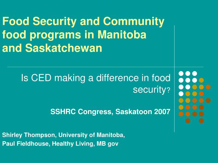 Food security and community food programs in manitoba and saskatchewan