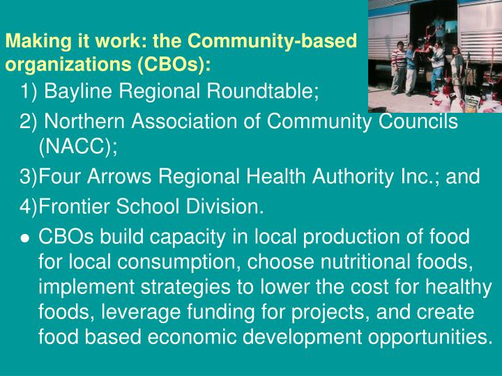 Making it work: the Community-based organizations (CBOs):