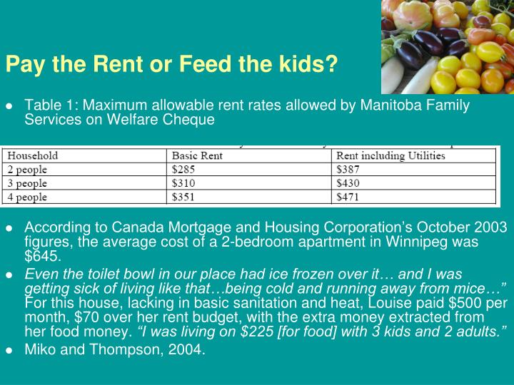 Pay the Rent or Feed the kids?