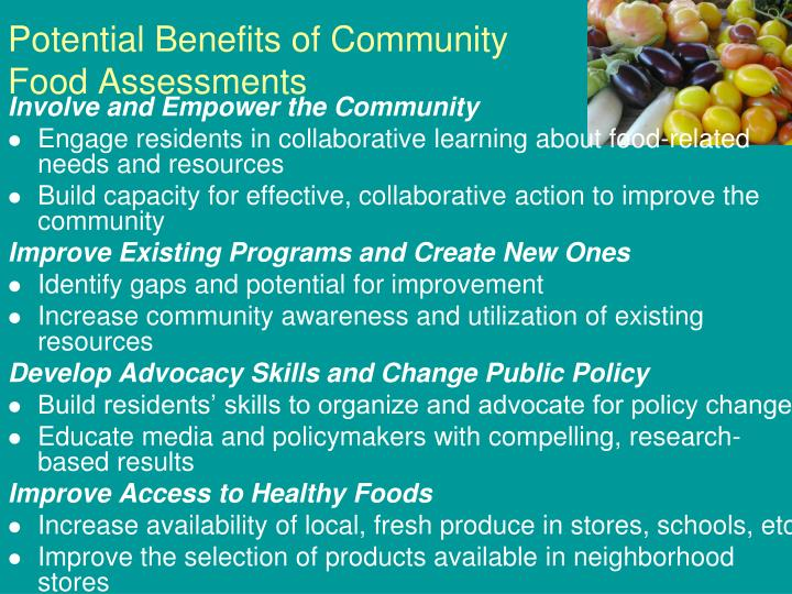 Potential Benefits of Community Food Assessments