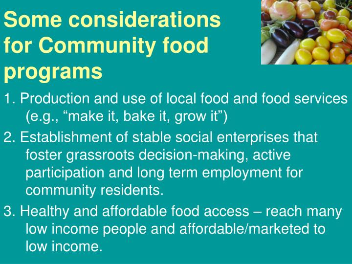 Some considerations for Community food programs