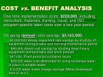 cost vs benefit analysis