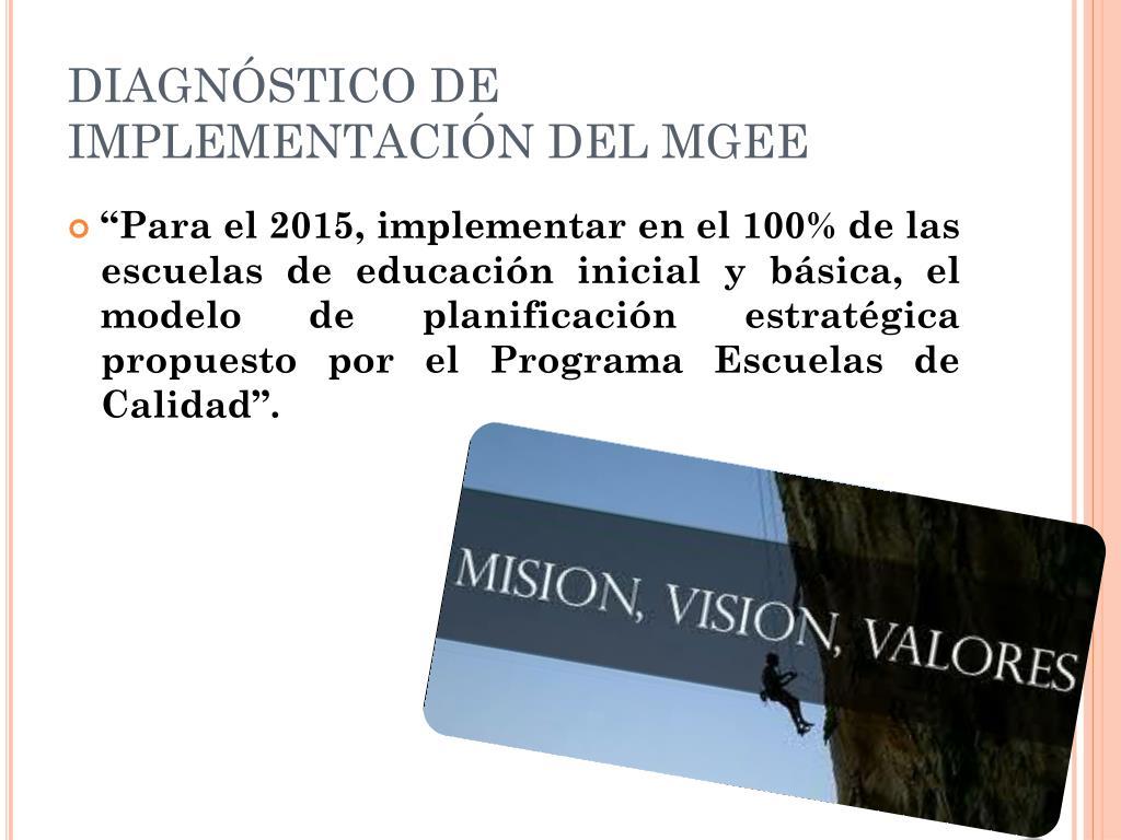 DIAGNÓSTICO DE IMPLEMENTACIÓN DEL MGEE