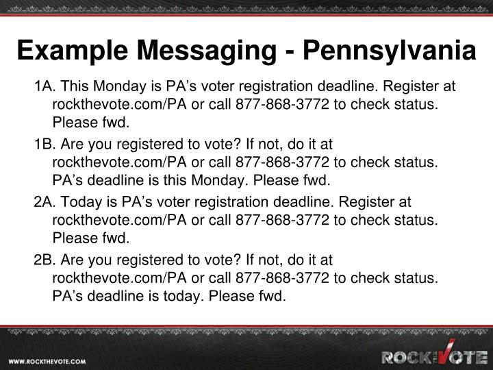 Example Messaging - Pennsylvania