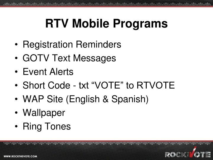 RTV Mobile Programs
