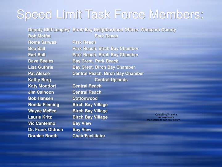 Speed limit task force members