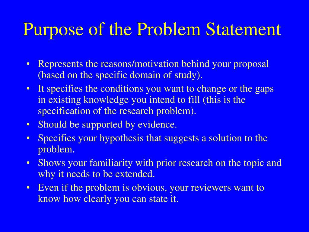 Purpose of the Problem Statement