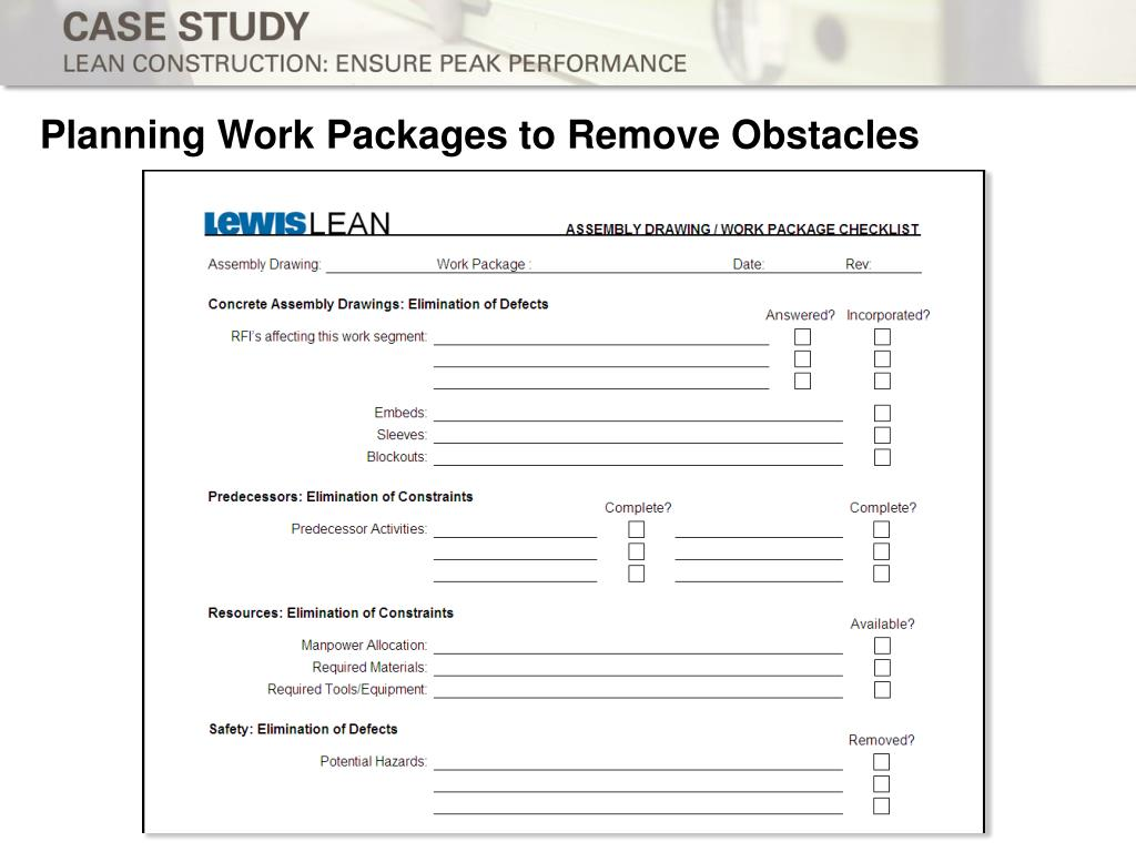 Planning Work Packages to Remove Obstacles