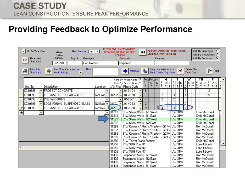 Providing Feedback to Optimize Performance