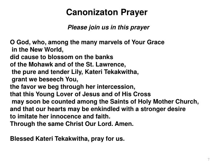 Canonizaton Prayer
