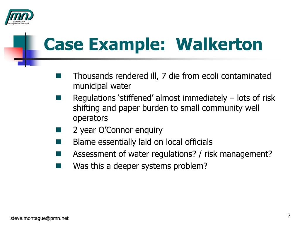 Case Example:  Walkerton