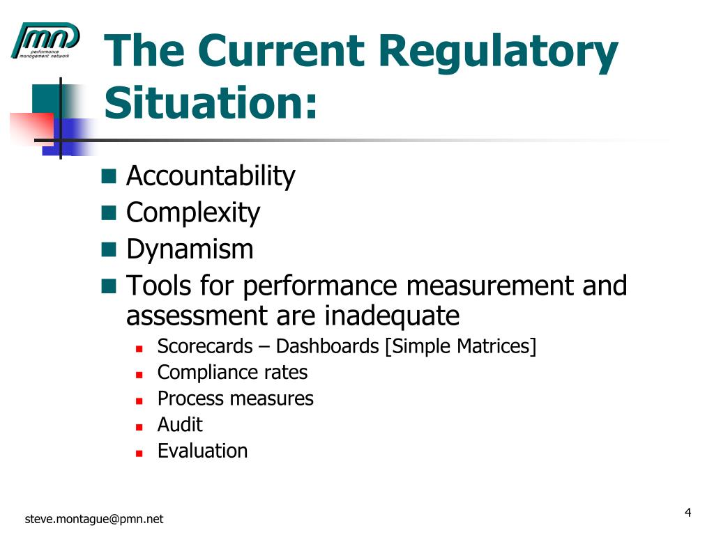 The Current Regulatory Situation: