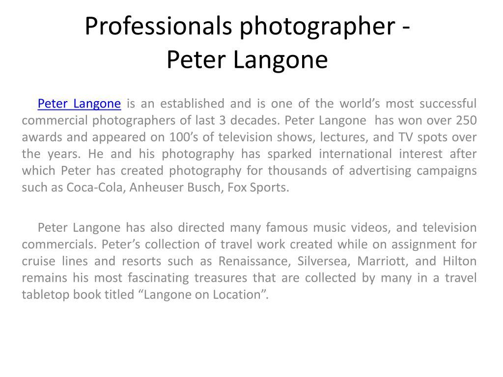 Professionals photographer - Peter