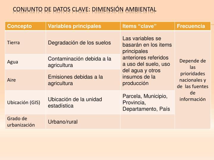 CONJUNTO DE DATOS CLAVE: DIMENSIÓN AMBIENTAL