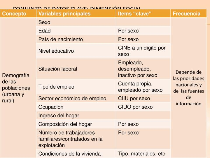 CONJUNTO DE DATOS CLAVE: DIMENSIÓN SOCIAL