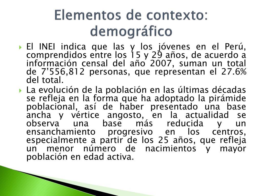 Elementos de contexto: demográfico