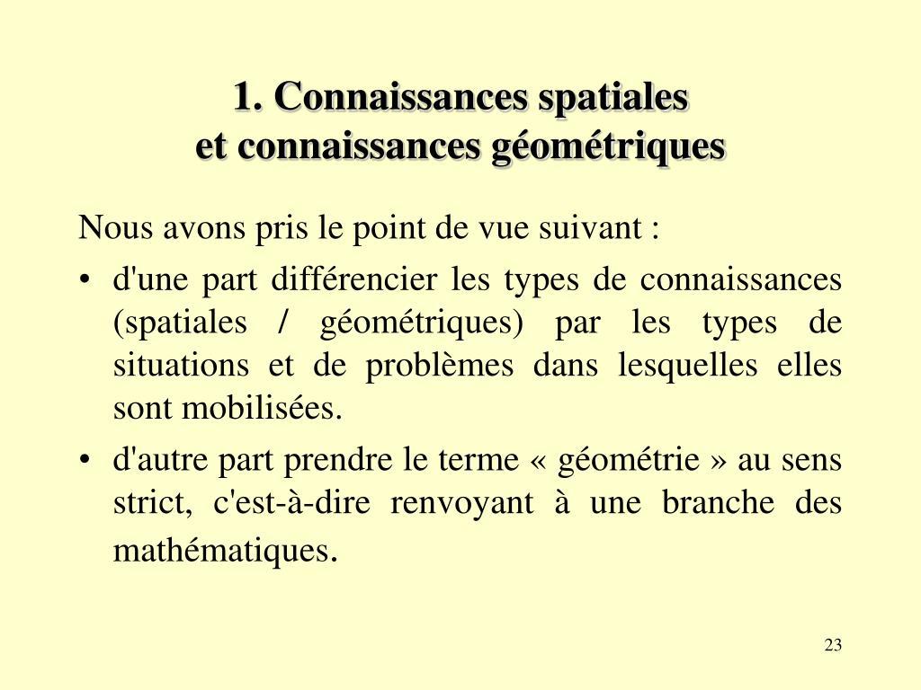 1. Connaissances spatiales