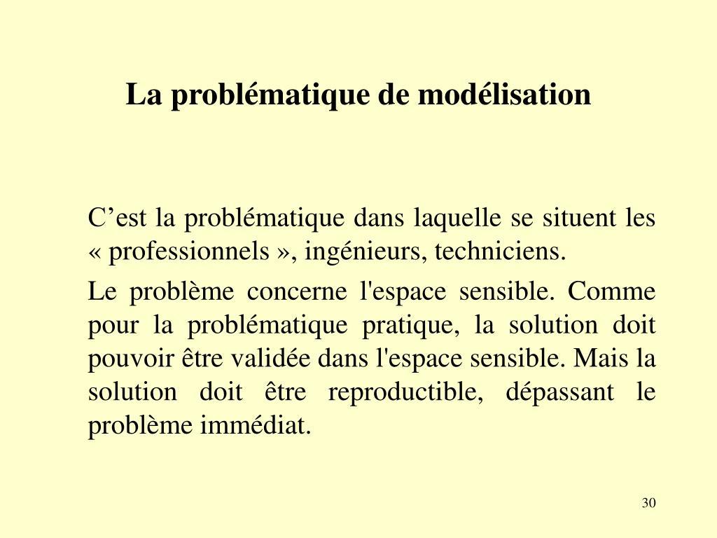 La problématique de modélisation