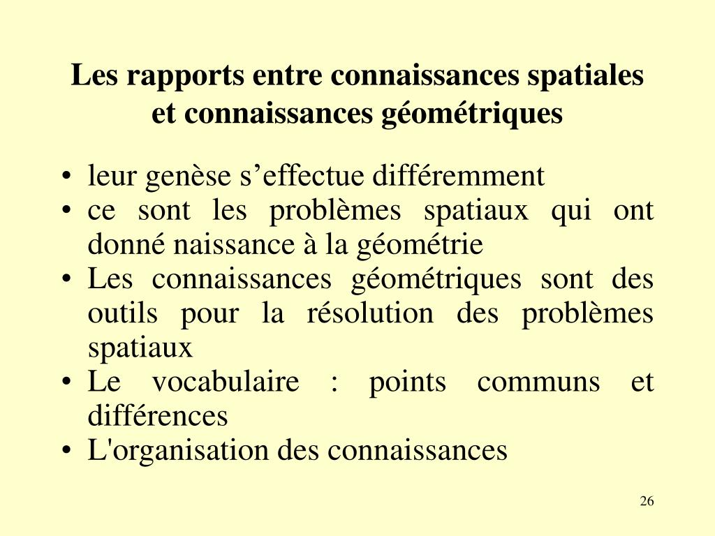 Les rapports entre connaissances spatiales et connaissances géométriques