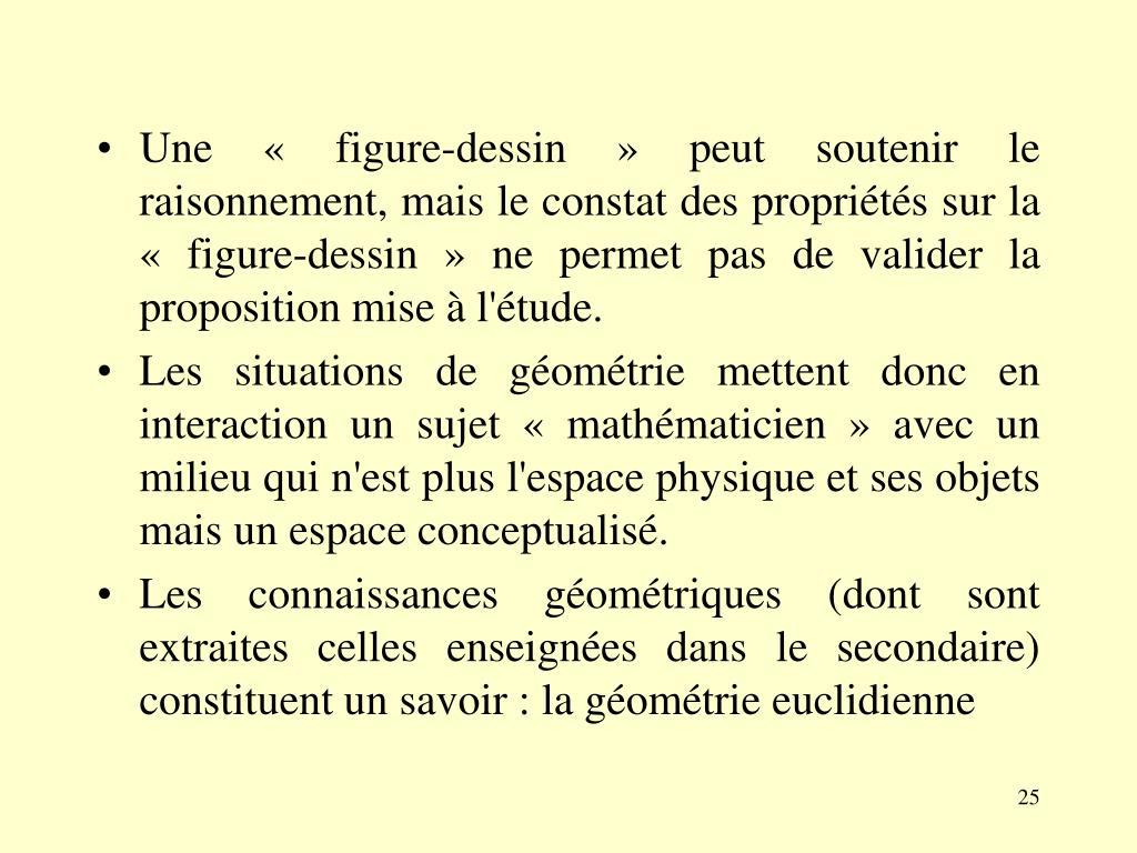 Une «figure-dessin» peut soutenir le raisonnement, mais le constat des propriétés sur la «figure-dessin» ne permet pas de valider la proposition mise à l'étude.