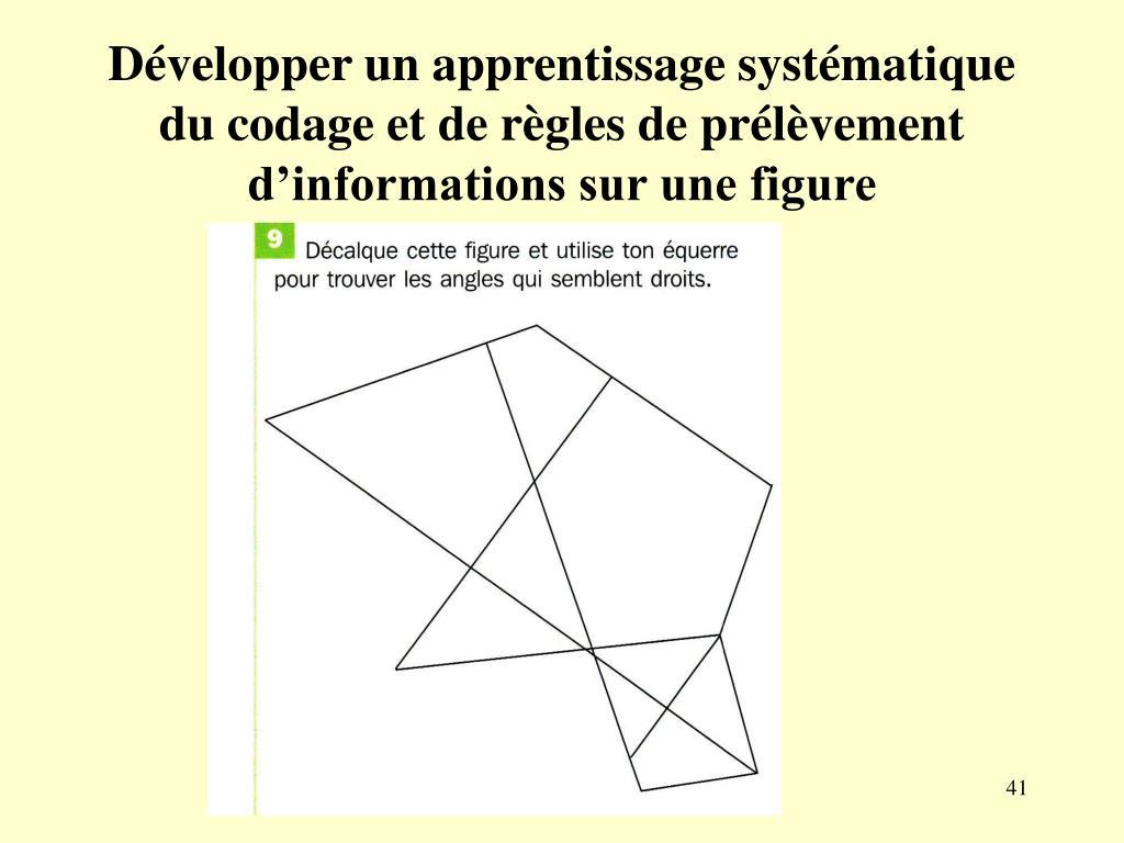 Développer un apprentissage systématique du codage et de règles de prélèvement d'informations sur une figure