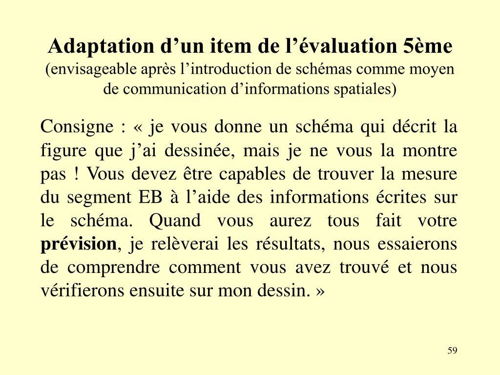 Adaptation d'un item de l'évaluation 5ème