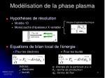 mod lisation de la phase plasma