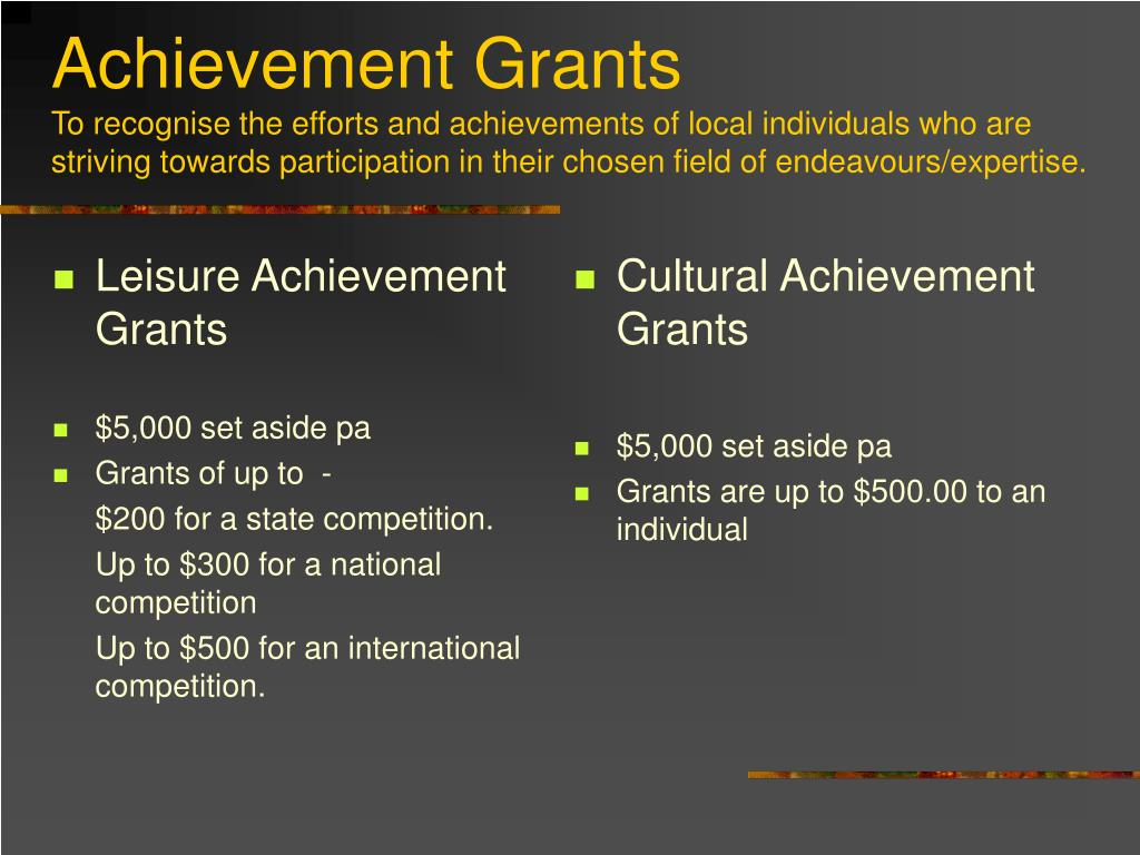 Leisure Achievement Grants
