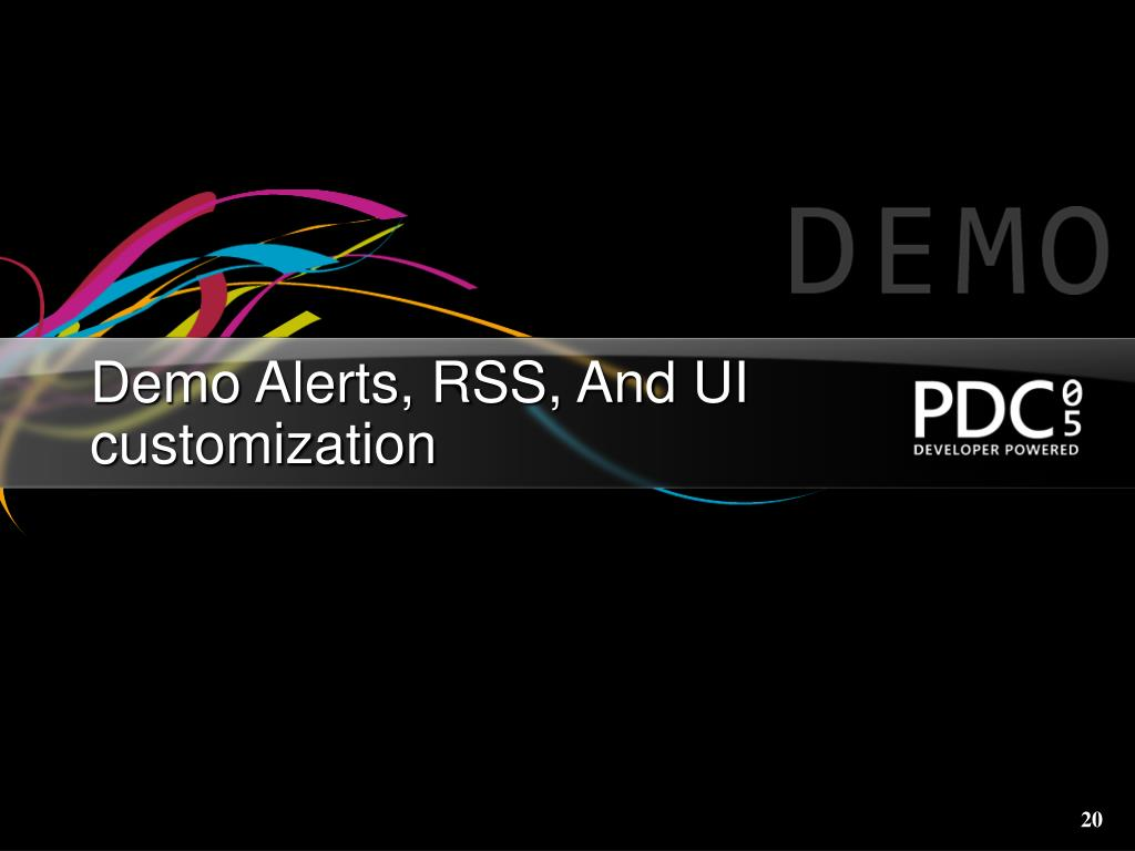 Demo Alerts, RSS, And UI customization