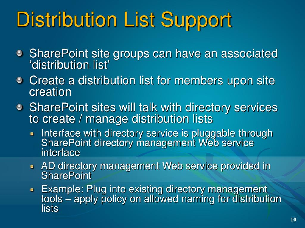Distribution List Support