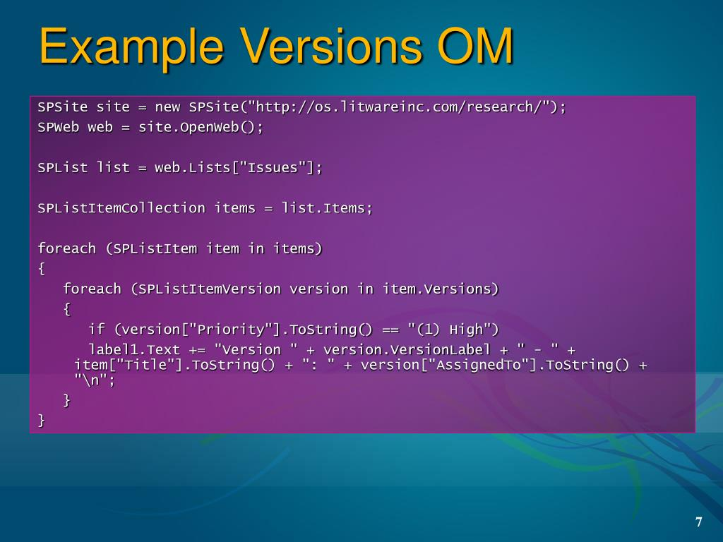 Example Versions OM