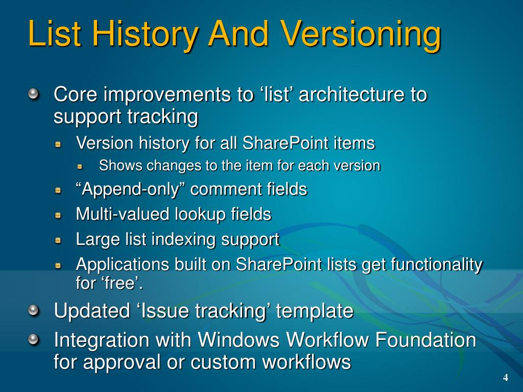 List History And Versioning