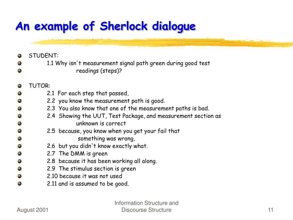 An example of Sherlock dialogue