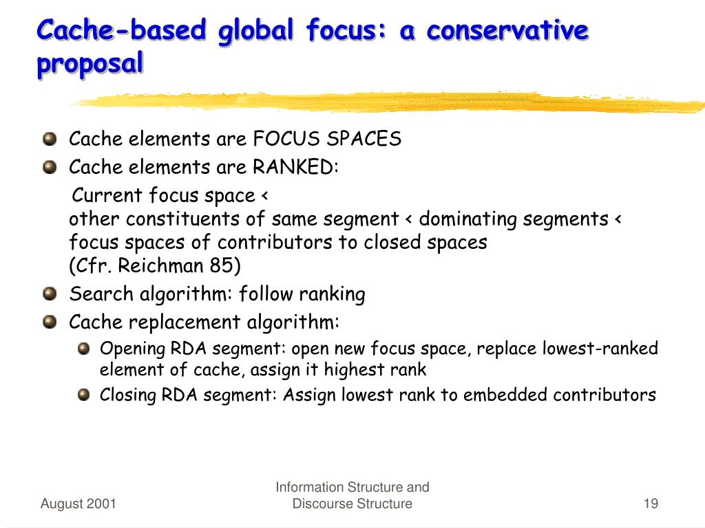 Cache-based global focus: a conservative proposal