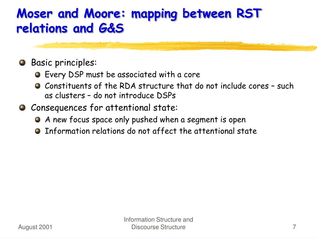 Moser and Moore: mapping between RST relations and G&S