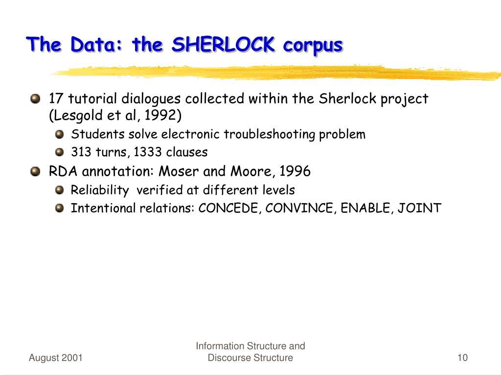 The Data: the SHERLOCK corpus