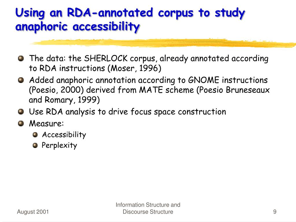 Using an RDA-annotated corpus to study anaphoric accessibility