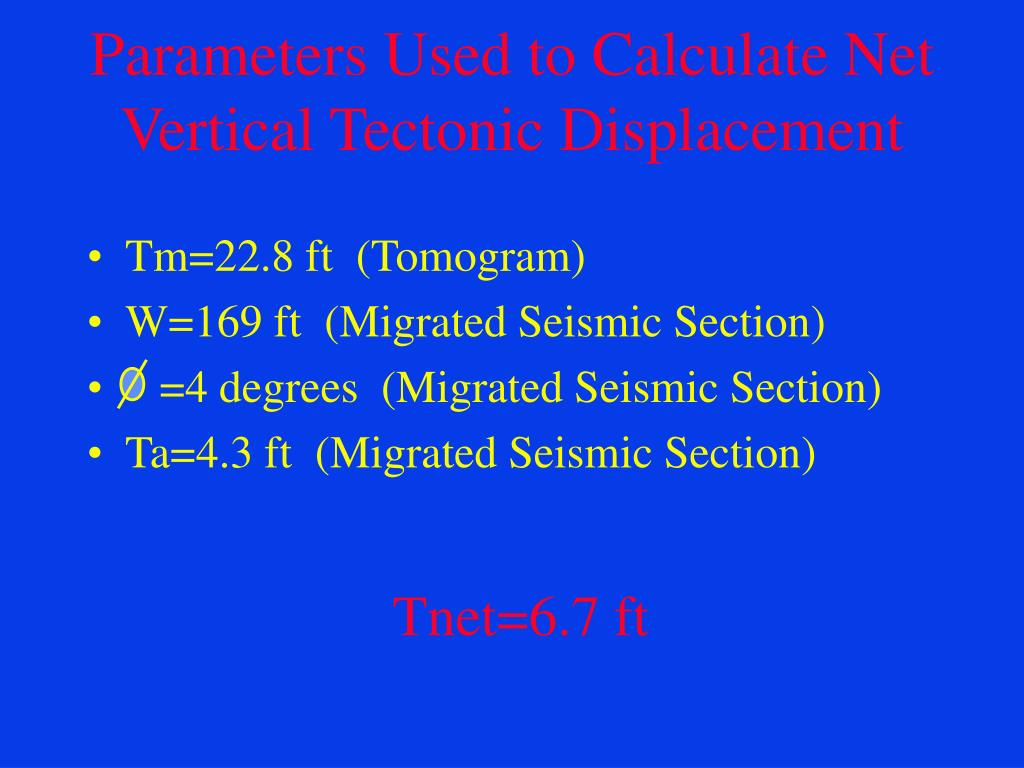 Parameters Used to Calculate Net Vertical Tectonic Displacement