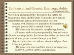 ecological and genetic exchangeability